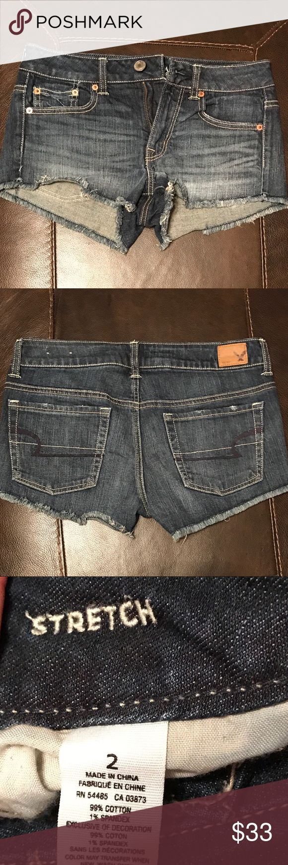 NWOT American Eagle Outfitters Stretch Shorts 2 NWOT American Eagle Outfitters Stretch Shorts Size 2 - These have not been worn. You can still see the stitching in the waist band from where I took the tag off. These have a 2 inch inseam. American Eagle Outfitters Shorts Jean Shorts