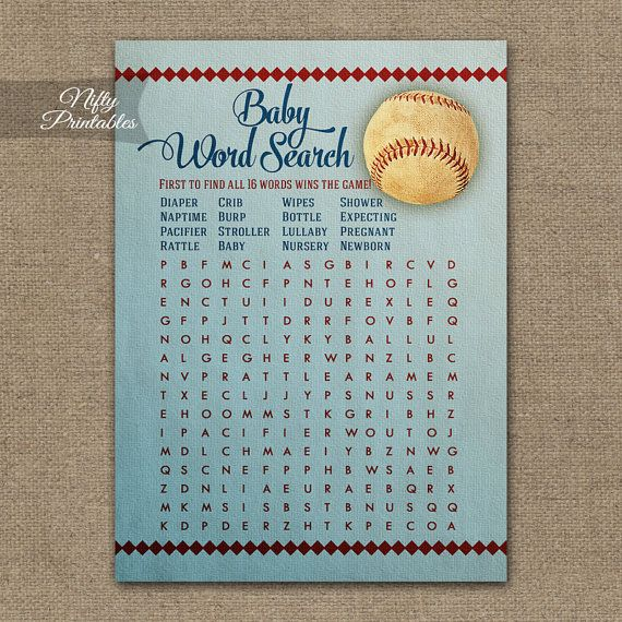 Word Search Baby Shower Game  Baseball Baby by NiftyPrintables