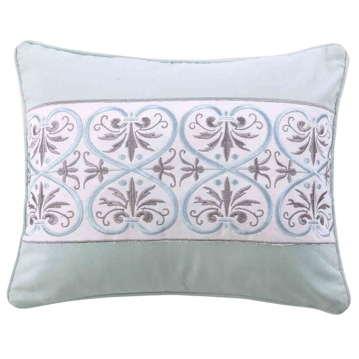 Lindsey Spa Embroidered Metallic Throw Pillow, Blue