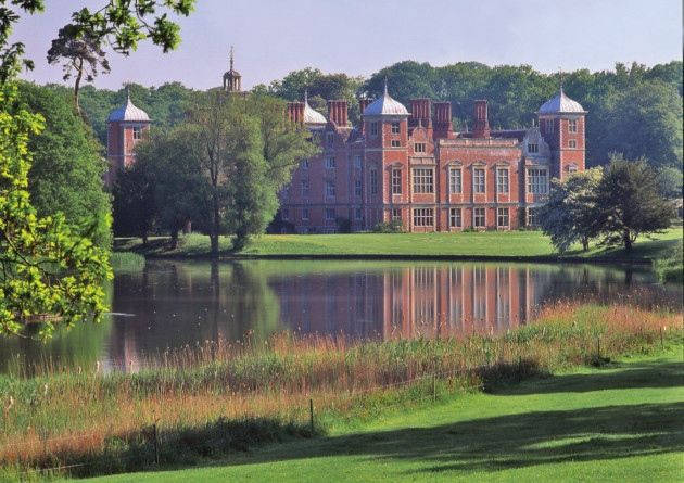 Views across the lake at Blickling Hall. Blickling Hall, Norfolk (possibly the birthplace of Anne Boleyn)