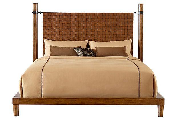 Crofter Bed, King, Cognac - flormorado veneers & solids ... on Cognac Leather Headboard  id=30170