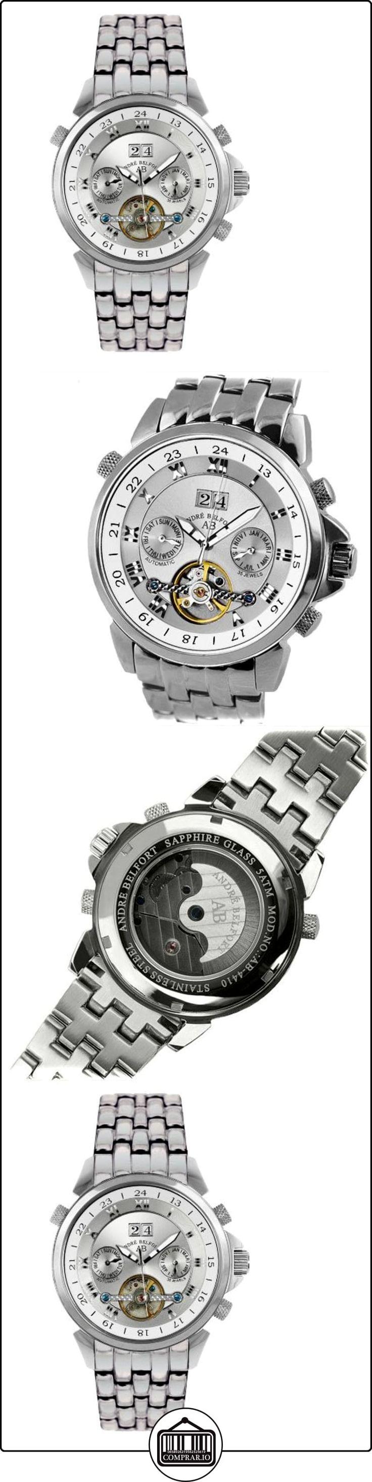 André Belfort 410015 - Reloj analógico de caballero automático con correa de acero inoxidable plateada - sumergible a 50 metros  ✿ Relojes para hombre - (Lujo) ✿