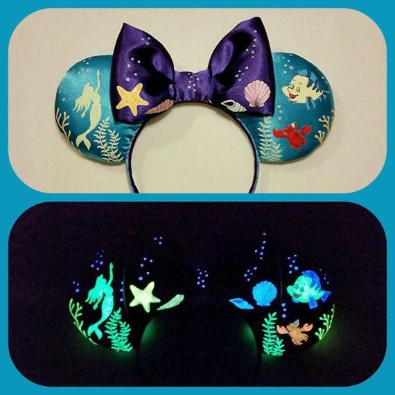 Glow in the dark Ariel Ears, Little Mermaid Ears, Minnie Mouse ears, Mickey Ears, Mouse ears, Hand painted Mouse Ears, Minnie Ears