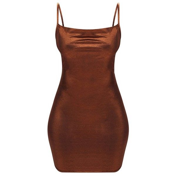Bronze Metallic Cowl Neck Strappy Bodycon Dress ($18) ❤ liked on Polyvore featuring dresses, brown cocktail dress, metallic dress, brown dresses, body con dress and strap dress