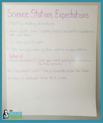 Science Stations Expectations Anchor Chart