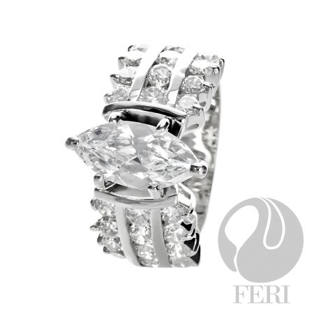Engagement ring .925 fine sterling silver with 0.1 micron natural rhodium with AAA white cubic zirconia, from GWT FERI Galleries.