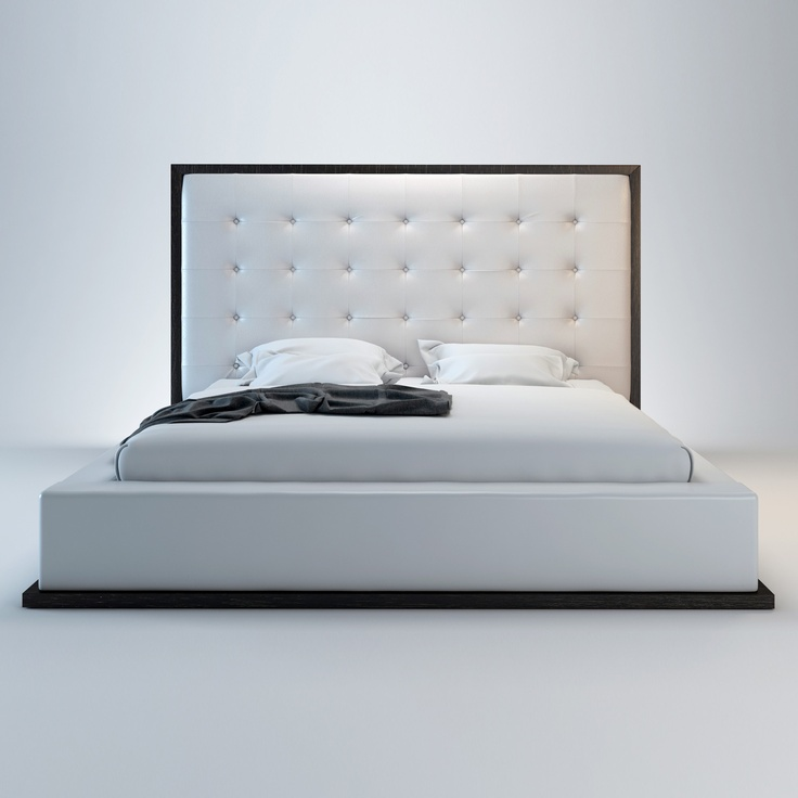 Ludlow Bed in Wenge / White Leather