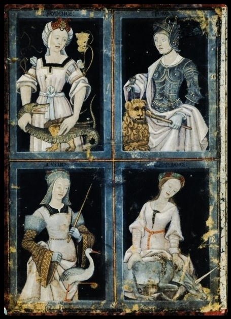 The four Cardinal Virtues: Prudence, Strength, Justice, Temperance, c.1500-1520