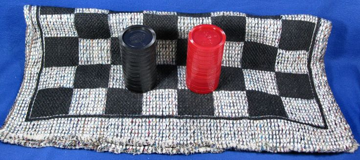 """Giant Cloth Checkerboard Throw Rug 28"""" X 28"""" With Plastic Checkers #NoBrand"""
