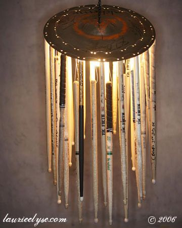 Lamp made of old drum sticks - for your favorite percussionist's man cave- For Danny :)
