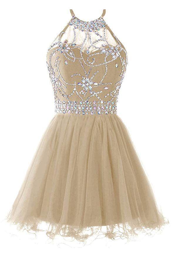 f988639db8 Musever Women s Halter Short Homecoming Dress Beading Tulle Prom Dress  Champagne  dress  formaldress  promdress