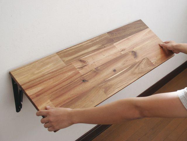 アカシアの折りたたみ式カウンターテーブル 幅60 91cm 奥行30cm 壁