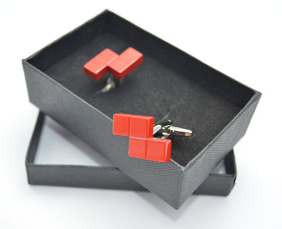 Tetris puzzle video game cufflinks personalised box by davesdisco, £14.95