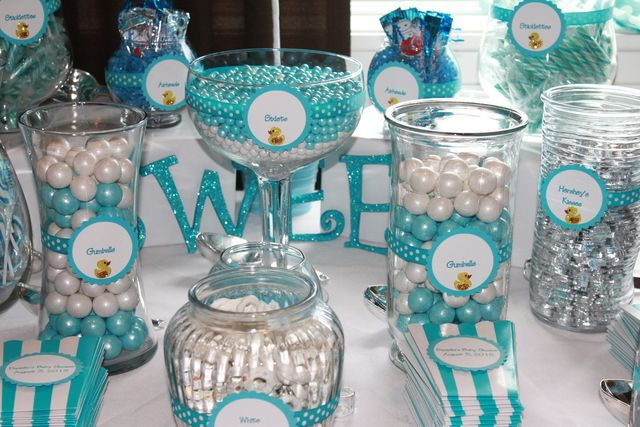 Blue and White Candy Buffet at a Rubber Ducky Baby Shower.  See more party ideas at CatchMyParty.com.  #babyshowerideas