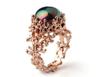 CORAL Black Pearl Ring Unique Rose Gold Engagement by AroshaTaglia