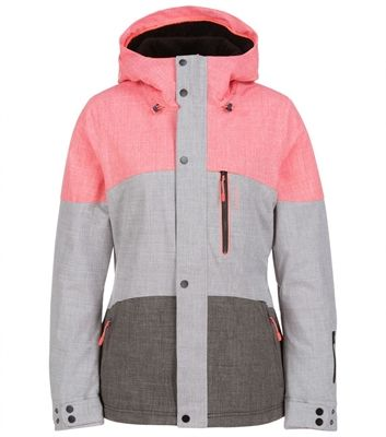 Bold color block for style O'NEILL SNOW - WOMEN'S CORAL JACKET is a sure winter favorite.