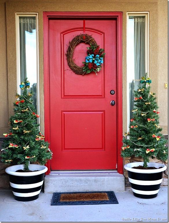 Front Porch Christmas Decor Two Prelit 4 Ft Trees