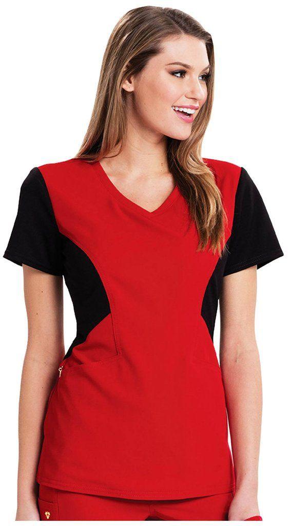 Sofia Contrast V-Neck Top - Red/Black