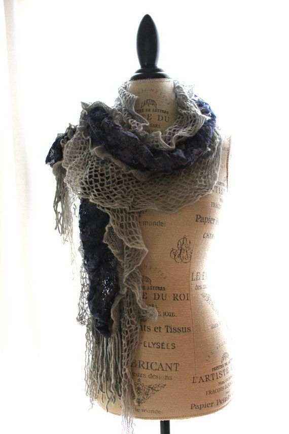 Romantic fringed women's scarf, boho chic, shabby winter blue, french chic, hand dyed, country chic clothing, cottage chic, boho accessories...