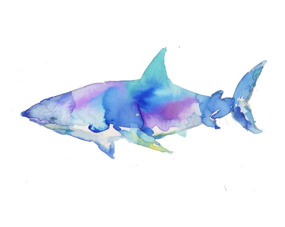 Great White Watercolor Print Shark Painting Shark by JessBuhmanArt