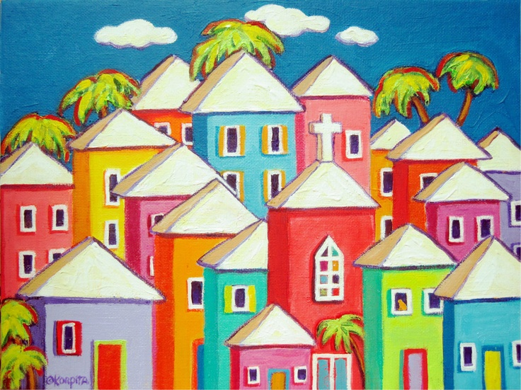 Little Village - Colorful Carribean Houses Seaside Town