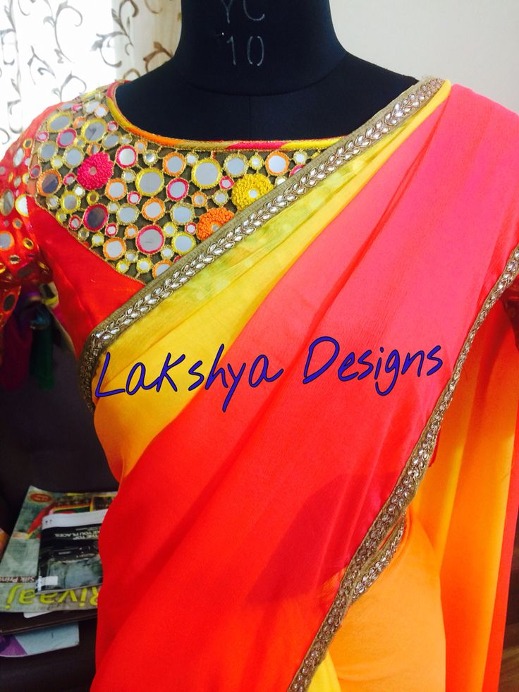 Shaded saree teamed with mirror work blouse