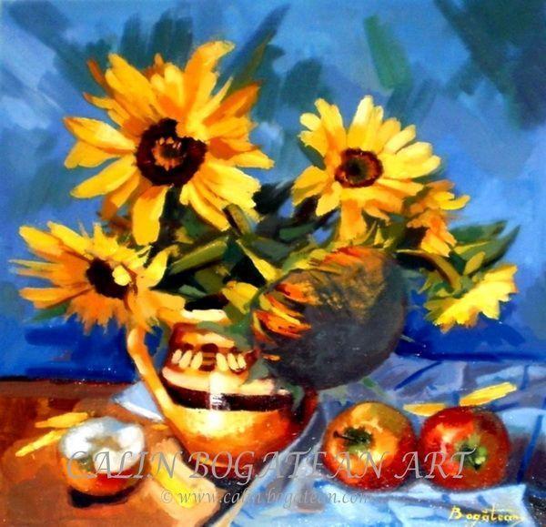 Floarea soarelui în vas de lut și mere pictură în ulei pe pânză natură statică tablou realist pictură hiperrealistă lucrare originală de artă pictată de pictorul profesionist Călin Bogătean membru al Uniunii Artiștilor Plastici Profesioniști din România.  Picturi cu flori tablouri florale flori pictate pe panza natură moartă pe pânză natură statică picturi flori