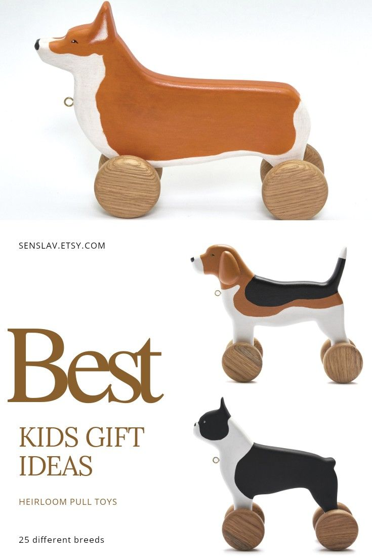 Organic Heirloom Wooden Toys For Baby Activity Beagle Lover Pull