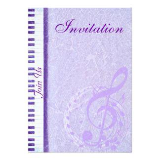 Notes pourpres et Keys_Invitation de musique Carton D'invitation 12,7 Cm X 17,78 Cm