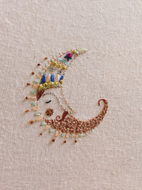 openyourthird-eye: upclosefromafar: meganivygriffiths: Moon man embroidery megangriffithsillustration.co.uk Instagram.com/meganivygriffiths ~My Hidden Nirvana~ ॐfollow for good vibesॐ