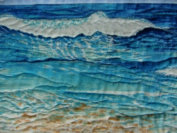 Tropical Beach Landscape Art Quilt Wall By