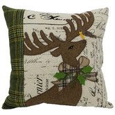 Found it at Wayfair - Reindeer with Applique Suede Polyester Throw Pillow