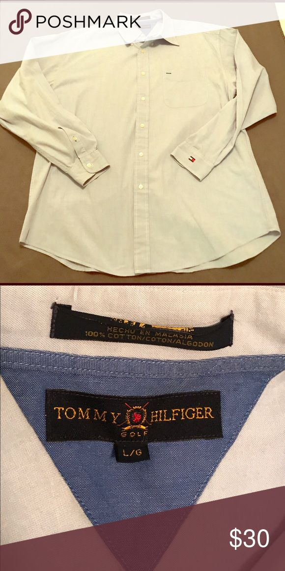 Tommy Hilfiger, EUC, Blue, Button-Front Shirt Excellent, Pre-Owned Condition; No Signs of Wear  Gorgeous, Light-Blue, Button-Front, Dress Shirt! Long-Sleeve; Extra Buttons Still Attached; Original, Flag Logo on Left Cuff  Men's Big & Tall Size Large Brand is Tommy Hilfiger  100% Cotton Machine-Wash, Warm; Tumble-Dry, High Made in Malaysia  **BUNDLE & SAVE!!! **DOG-FRIENDLY HOME Tommy Hilfiger Shirts Dress Shirts