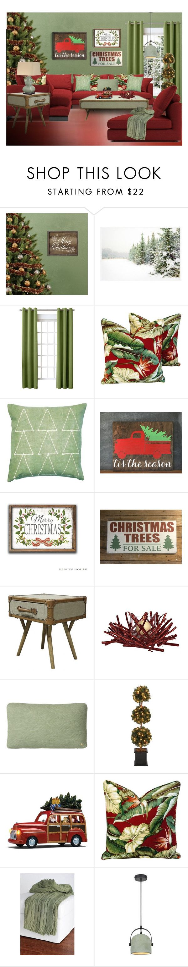 """""""Decorate with Red & Green"""" by kwaldrip ❤ liked on Polyvore featuring interior, interiors, interior design, home, home decor, interior decorating, Stratton Home Décor, Pottery Barn, Sun Zero and Waldrip"""