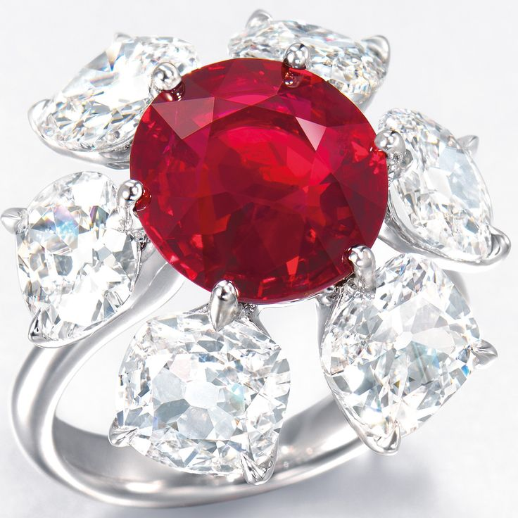 """Also among the highlights of the auction is a 6.04-carat Burmese ruby and diamond ring by Etcetera with an estimate of $2.5 million – $3.8 million. This cushion-shaped stone that hasn't been treated with heat possesses the most desirable """"pigeon's blood red"""" color and and an extraordinary degree of transparency, Christie's says. Burmese rubies over 5 carats, particular those gems that have not undergone any thermal enhancement, are extremely rare."""