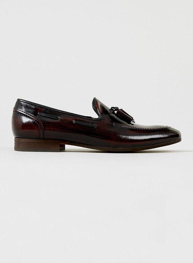 $220, Hudson Shoes Hudson Pierre Burgundy Leather Tassel Loafers. Sold by Topman. Click for more info: https://lookastic.com/men/shop_items/192815/redirect