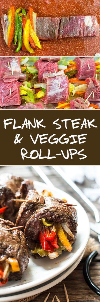 Balsamic Glazed Flank Steak & Veggie Roll-Ups | A healthy, gluten free dinner recipe for flank steak that is filled with roasted bell peppers and onions.