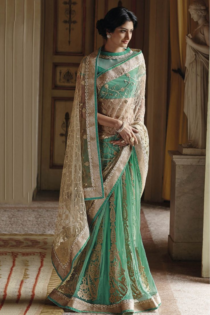 Laxmipati Net and Georgette Party Wear Half N Half Saree In Cream and Sea Green Colour