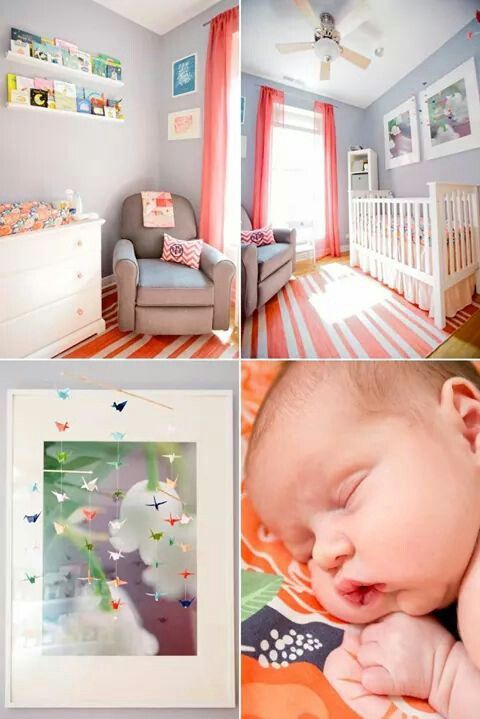 Adorable peachy pink nursery room design.