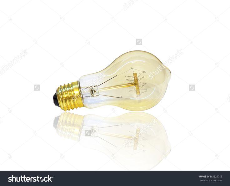 amber edison light bulb, horizontal isolated on white background with reflection