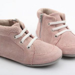 Fawn + Finch – Pink Suede High Tops    these gorgeous baby and toddler high-tops are made from super soft cow leather, they are fully lined with leather and have an innersole that makes it super comfy for your little ones to get around in; they really are the perfect combination of comfort and durability.  designed by myself, these high-tops are one of a kind; you won't find them anywhere else.  their stretchy elastic and zip on style mean that these soft-soled bootiemoccasins offer ease