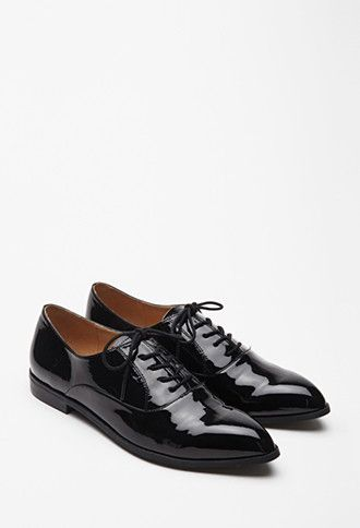 Faux Patent Leather Oxfords | Forever 21 - 2000080416