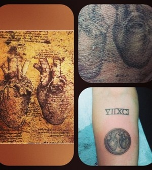 Miley Cyrus' Da Vinci Anatomical Heart Tattoo  http://www.popstartats.com/miley-cyrus-tattoos/mc-arm/davinci-anatomical-heart/