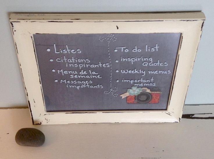 Babillard à vitre cadre récupéré effaçable à sec organisation mémo photos décor mural tableau d'affichage caméra photographe notes à effacer de la boutique OmmaSae sur Etsy
