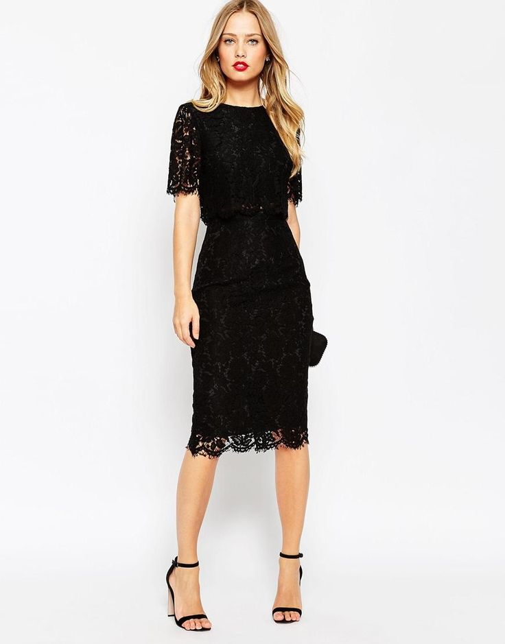 ASOS | Lace Crop Top Midi Pencil Dress