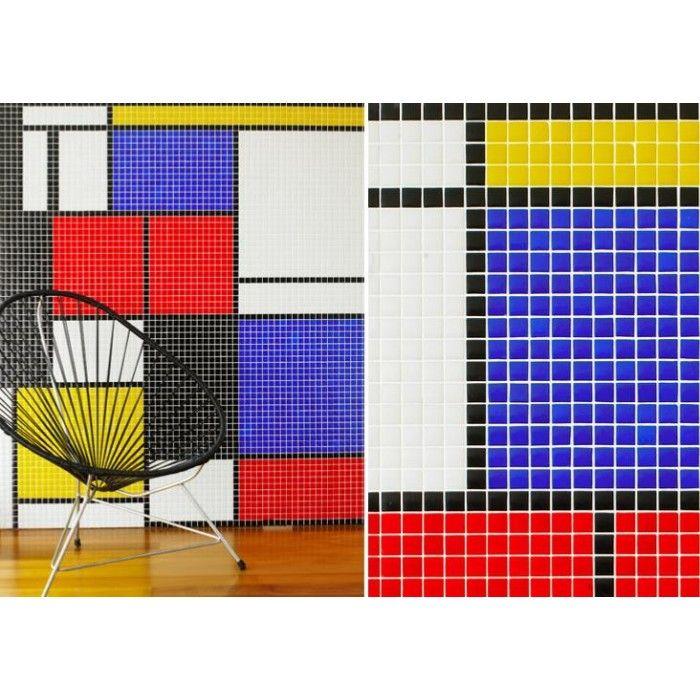 Mosaique 2 5x2 5cm Motif Mondrian Noir Rouge Bleu Jaune Blanc