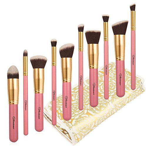 awesome Makeup Brushes Set by Soobest , Makeup Brush kit Contains 10pcs Cosmetic Powder Kabuki Foundation Brushes & Applicators with Luxury Carry Bag -Professional Grade & Tested Synthetic Bristles(pink)