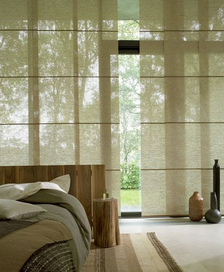 Luxaflex Japanese Design Collection - floor to ceiling windows look like paper walls with the curtains drawn