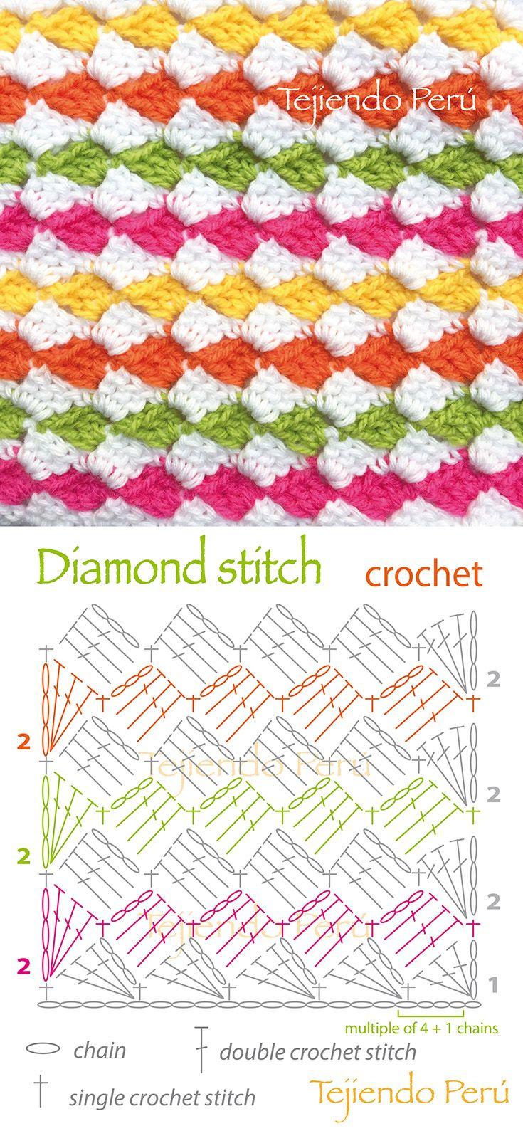 Crochê padrão diamante.