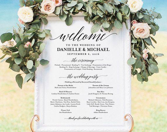 Wedding program Sign Welcome Wedding Sign by BlissPaperBoutique